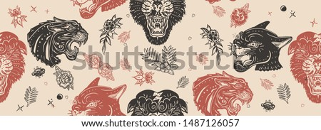 Black panthers seamless pattern. Old school tattoo style. Vintage paper background. Aggressive wild cats, animals background. Traditional tattooing art