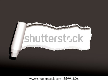 Black paper background with torn or ripped edges and roll - stock vector