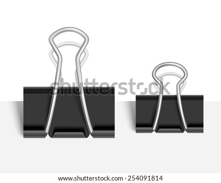 Black Paper clip isolated on white. Vector illustration