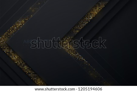 Black paper cut background. Abstract realistic layered papercut decoration textured with golden halftone pattern. 3d backdrop. Vector illustration. Material design concept. Minimalist cover template