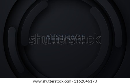 Black paper cut background. Abstract realistic papercut decoration textured with radial layers. 3d backdrop. Carving art. Vector illustration. Cover layout template. Material design concept