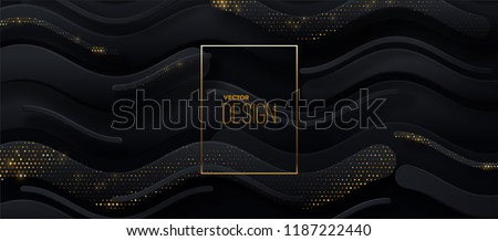 Black paper cut background. Abstract realistic papercut decoration textured with wavy zigzag shapes and golden halftone pattern. 3d backdrop. Vector illustration. Cover layout template. Modern design