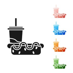 Black Paper glass with drinking straw and hotdog icon isolated on white background. Soda aqua drink sign. Hamburger, cheeseburger sandwich. Set icons colorful. Vector Illustration