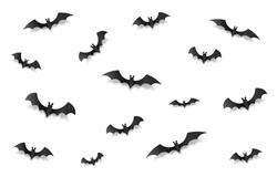 Black paper style vector halloween bats set isolated on white background