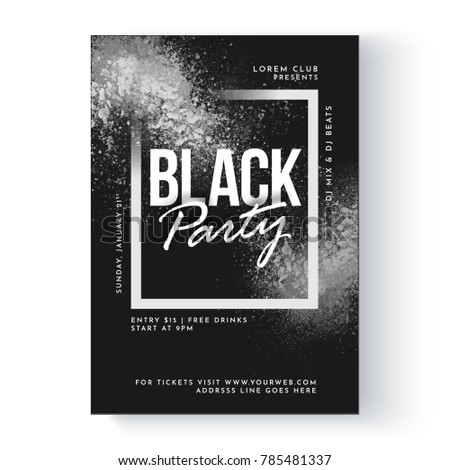 Black party banner or flyer design.
