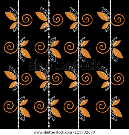 Black pattern with leaf and curl background