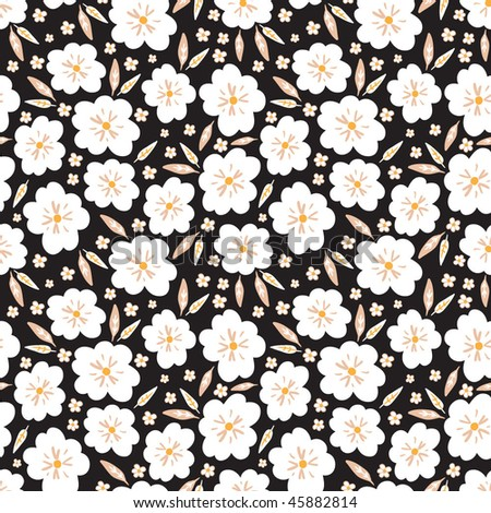 black pattern with small white flowers