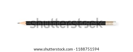 Black pencil on white background with soft shadow. Vector illustration.