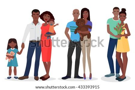 black people family couple set