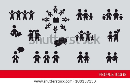 black people icons, famlies and businessman. vector illustration