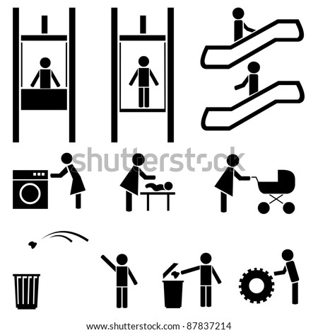 Black people icons vector set. Elevator, escalator. Cafe, pub, laundry. Mother and baby. - stock vector