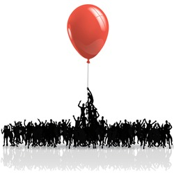 black people silhouettes climbing on a red balloon