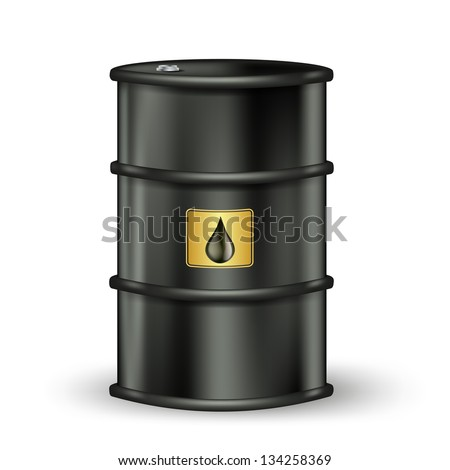black petrol barrel with sign on white