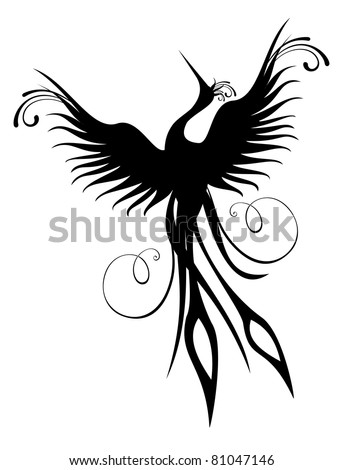 Black phoenix bird figure isolated over white. Re-birth concept.