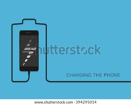 black phone charging with