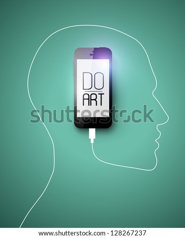 Black Phone forming human face profile with its cable. Creative concept for your design idea, Eps10, vector illustration. Be free!