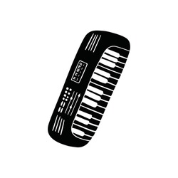 Black piano musical instrument isolated on white background.  Keyboard hand drawn illustration. Synthesizer acoustic audio classical chord. Jazz concert melody. Harmony vector outline line art.