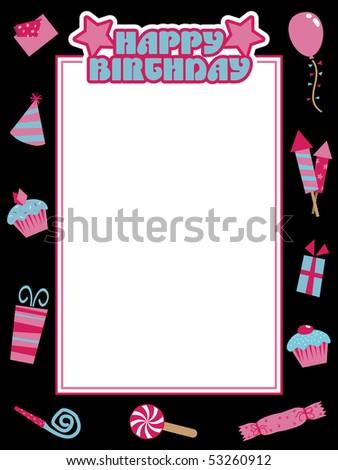 Happy Birthday Photo Frame Black