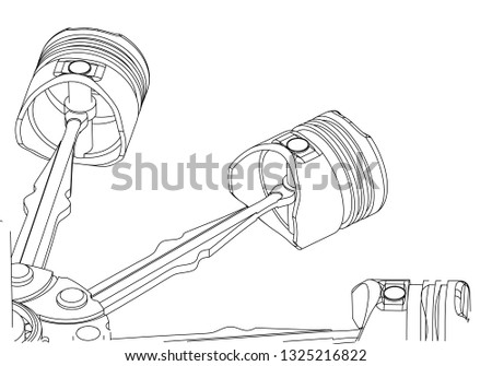 Car 4 Cylinder Engine Drawing