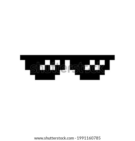 Black pixel Boss glasses meme vector illustration. Thug life design. 8 bit mafia gangster funky logo. Summer rap music isolated graphic element. Stock photo ©