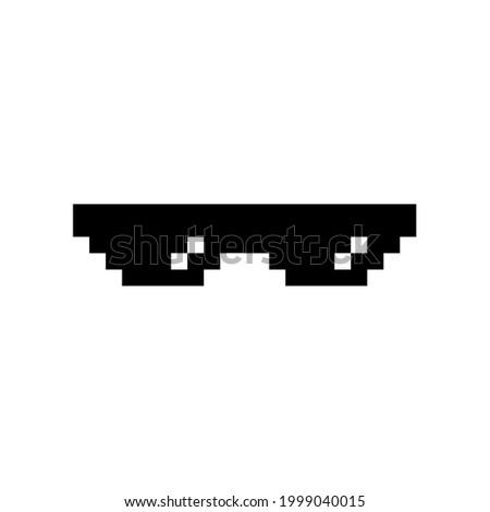 Black pixel Boss glasses meme vector illustration. Thug life design. 8 bit mafia gangster funky logo. Summer rap music isolated graphic element. Stock foto ©