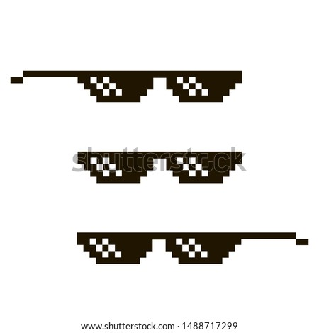 black pixel sunglasses isolated