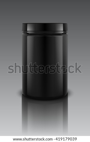 black plastic jars vector