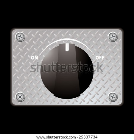Black plastic switch with metal plate with screws