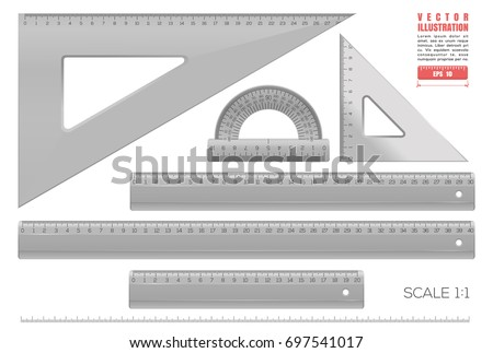 Black plastic transparent measuring rulers set. Triangle rulers, measuring rulers of different sizes and protractor. Collection of millimeter rulers in a scale of 1 to 1. Realistic vector illustration