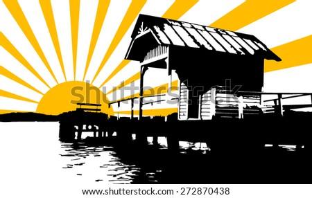 black platform and sun rays