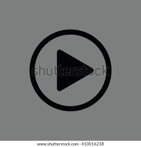 Black play button vector icon. Gray background #410016238