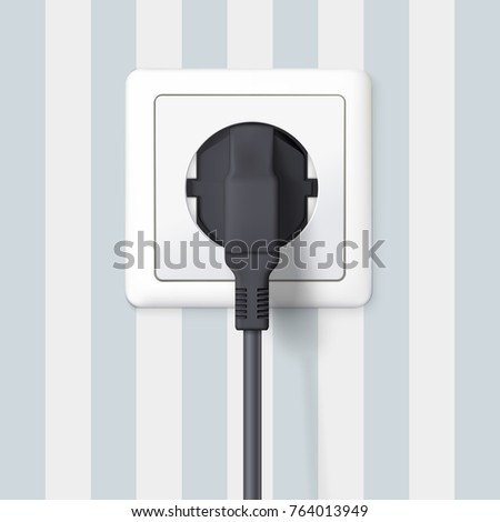 Black plug inserted in a wall socket on backdrop of wall with wallpaper with stripes. The plug is plugged into the power lines with electric cord. Icon of device for connecting electrical appliances