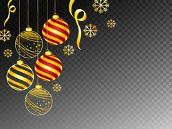 Black Png Background Decorated with Hanging Christmas Balls and Golden Snowflakes.