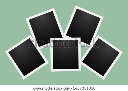 black polaroid photo cards with a white border Stock foto ©