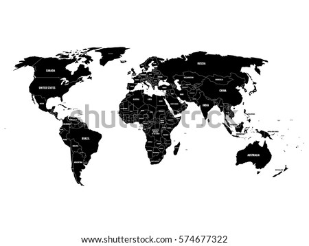 Black and white europe map download free vector art stock black political world map with country borders and white state name labels hand drawn simplified gumiabroncs Choice Image