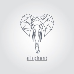 Black polygonal elephant and text with grey background