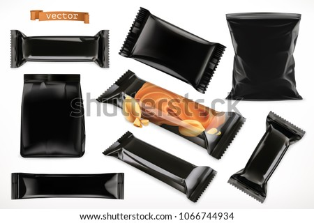Black polymer packaging for foods. Chocolate bar, different snack products. 3d realistic vector set mock up