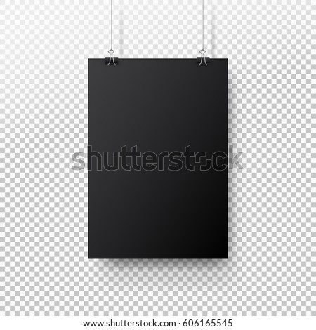 Black poster hanging on binder. Transparent background with mock up empty paper blank. Layout mockup. Vertical template sheet