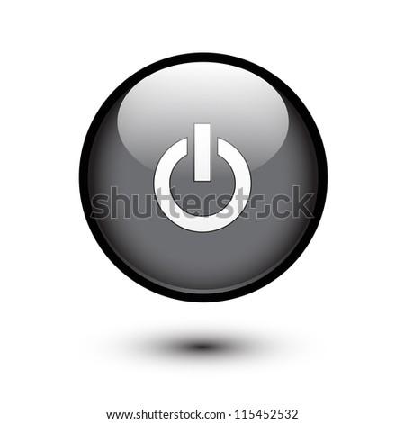 Black power button on white
