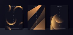 Black premium background set with luxury dark golden geometric elements. Rich background for poster, banner, flyer, presentation, web design etc. Vector EPS