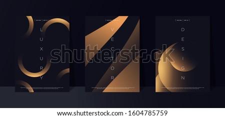 Black premium background set with luxury dark golden geometric elements. Rich background for poster, banner, flyer, presentation, web design etc. Vector EPS Stockfoto ©