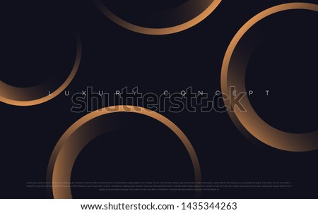 Black premium background with luxury dark golden geometric elements. Rich background for poster, banner, flyer etc. Vector EPS
