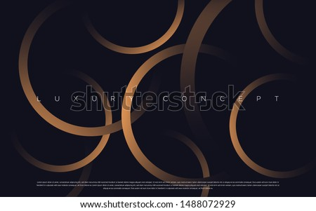 Black premium background with luxury dark golden geometric elements. Rich background for poster, banner, flyer etc. Vector EPS