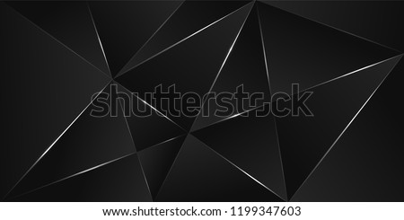Black premium background with luxury dark polygonal pattern and silver triangle lines. Low poly gradient shapes luxury silver platinum lines vector. Rich background for poster premium triangles design