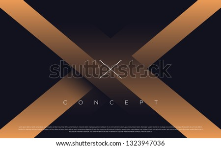 Black premium background with luxury dark X letters and golden lines. Rich background for poster premium design.