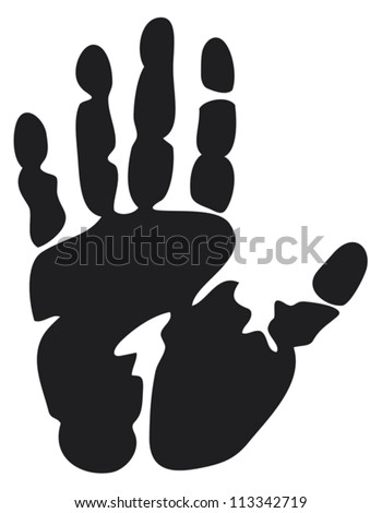 black print of a hand