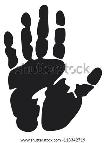 black print of a hand (hand print, hand print shape)