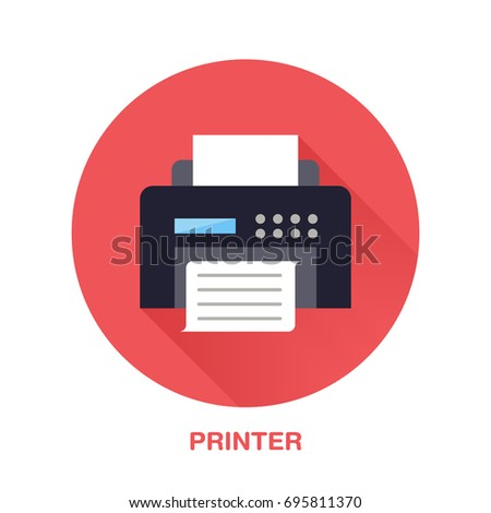 Black printer with paper page flat style icon. Wireless technology, office equipment sign. Vector illustration of communication devices for electronics store.