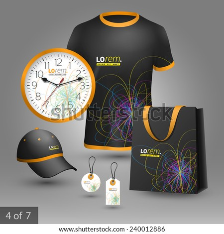 Black promotional souvenirs design for company with art color lines. Elements of stationery.