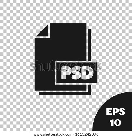 Black PSD file document. Download psd button icon isolated on transparent background. PSD file symbol.  Vector Illustration